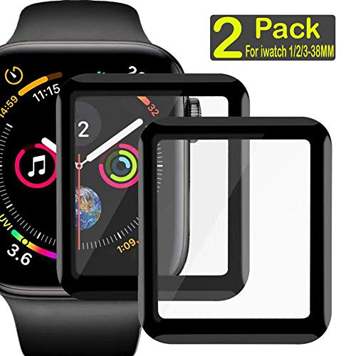 Compatible Apple Watch 3/2 /1 Series,3D Full Curved Edge Tempered Glass Screen Protector Clear Anti-Scratch Bubble-Free Film Watch Face Shield Guard Watch Screen Protector for iWatch 38mm (2 Pack)