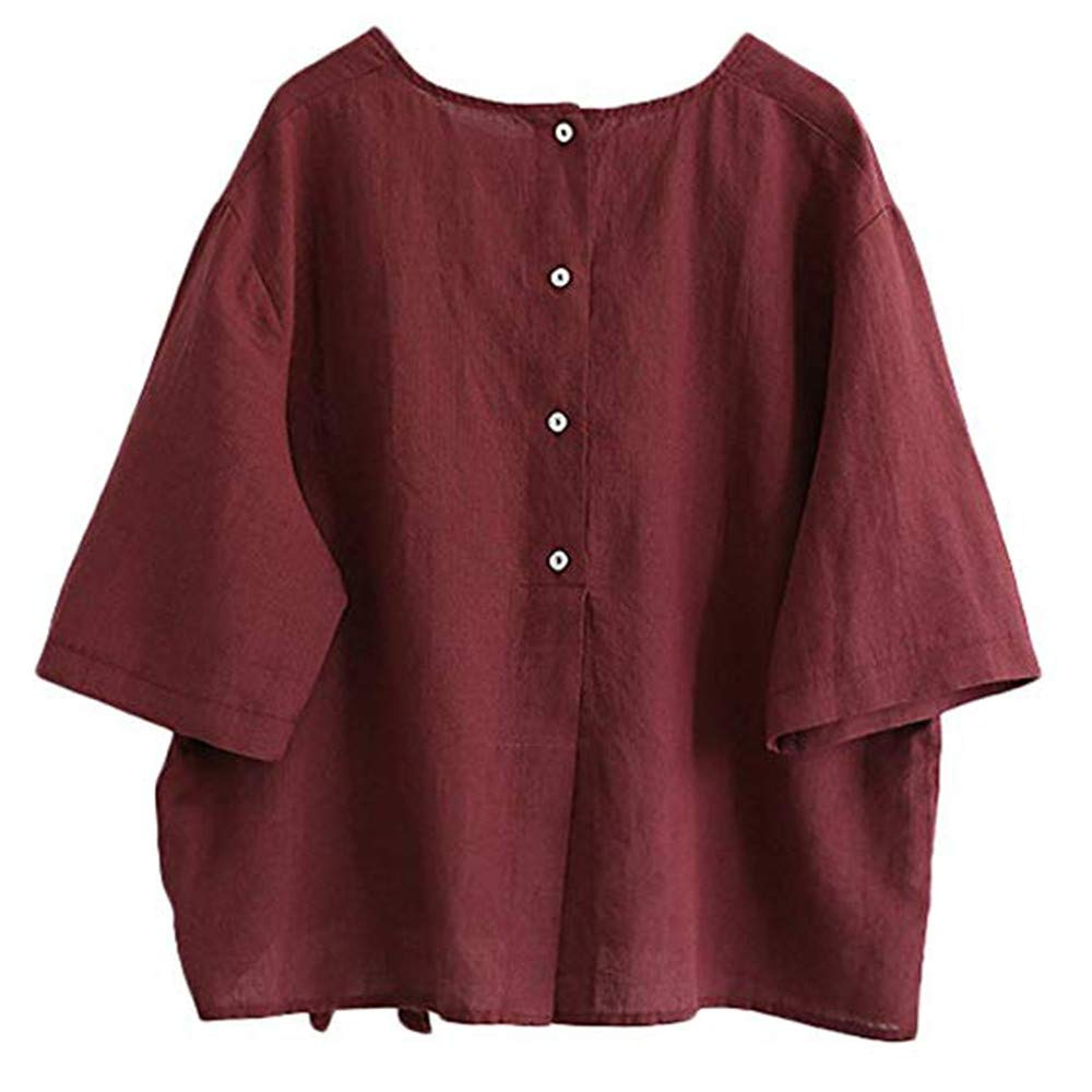 Farjing Women's Linen Blouse Loose Tunics Tops Shirt With Bow(2XL,Red)