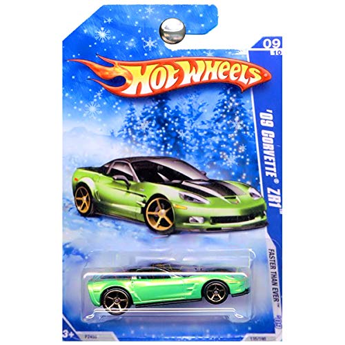 - Hot Wheels 2009 Faster Than Ever Chevrolet Chevy Corvette ZR1 Green on Holiday Snowflake Card