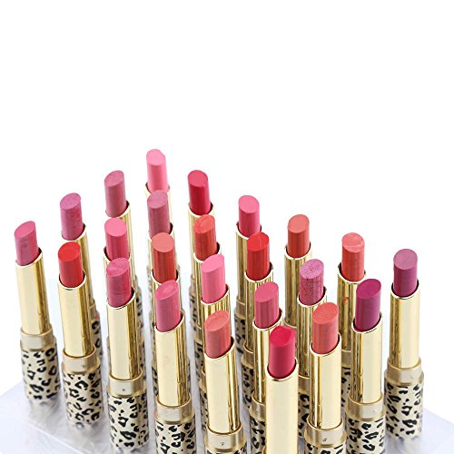 Anself 12 Colors 24pcs Leopard Print Lipsticks Moisturizing Lip Balms Set Waterproof Long Lasting