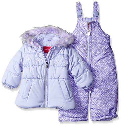 [London Fog Baby Girls' Infant Snowflake Embroidery 2 Piece Heavyweight Snowsuit, Lavender, 24M] (2 Snowflake)