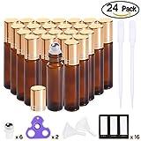prettycare Essential Oil Roller Bottles 10ml ( Amber Glass Bottle, 24 pack, 6 Extra Roller Balls,48 Labels, 2 Openers, 2 Funnels by PrettyCare ) Roller Balls For Essential Oils, Roll on Bottles (Amber)