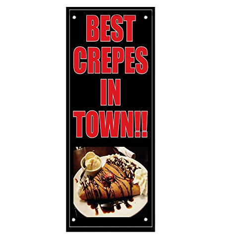 Best Crepes In Town Black And Dark Red Double Sided Vertical Pole Banner Sign 24 in x 36 in w/ Pole Bracket by Fastasticdeals