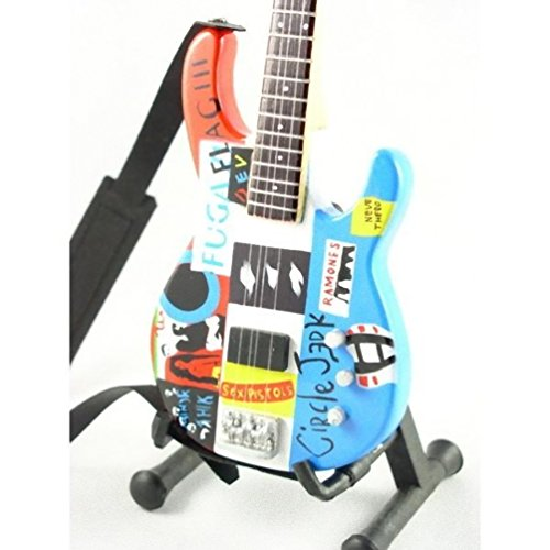 Red Hot Chili Peppers Miniature Guitar- Flea - Fender Modulus Bass Psychedelic - Wood Replica 10 Inches by Reni Gifts