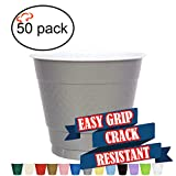 Tiger Chef Easy Grip Plastic Party Cups, 50-Pack Silver, Solid Color 9 Oz Plastic Cups, Big Party Pack (9-Ounce, 50 Pack)