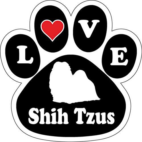 Love Shih Tzus Dog Breed Paw Print Car Magnet 5 1/2