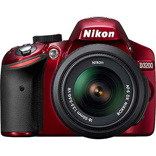 Nikon D3200 Digital SLR Camera & 18-55mm VR Zoom Lens (Red) (Certified Refurbished) For Sale