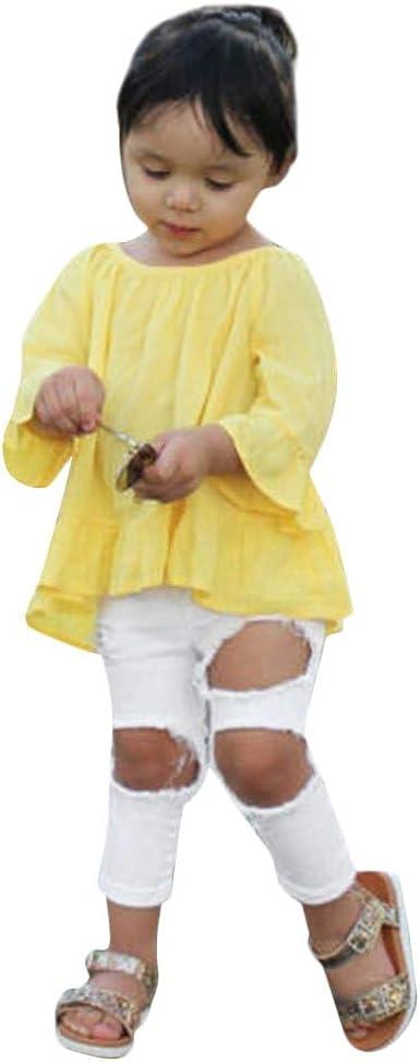 Mitlfuny Niñas Niño Deporte Conjunto de Ropa Bebé Camisetas de Manga Larga Irregular Plisado Volantes Blusas Jeans para Niña Niños Primavera Verano Tops + Pantalones rallados Trajes 2 Piezas 2-6 Años: Amazon.es: