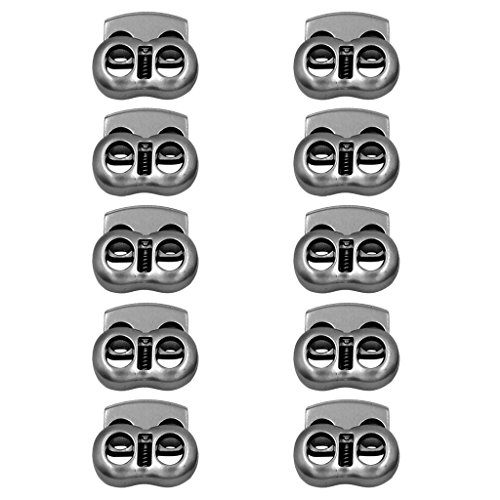 - 10pcs Gray Metal 2 Hole (7.35mm Dia) Bean Cord Locks Clamp Toggle Stop Slider for Paracord, Elastic Cord, Accessory Cordage, Drawstrings - Indoor/Outdoor Use