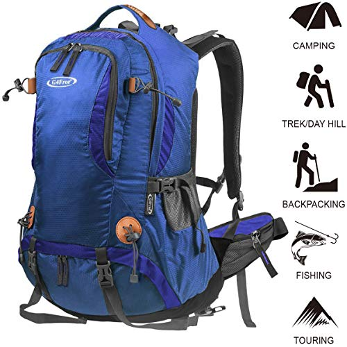 G4Free Hiking Backpack 50L Waterproof Daypack Outdoor Camping Climbing Backpack with Rain Cover for Women Men (Best Hiking Gear For Beginners)