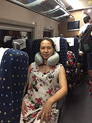 LUCKYBIRD Travel Pillow Car Luxuriously Neck Pillow Soft Washable Cover and Compact Packsack with a Travel Clip Bus and Home Gray Train for Lightweight Support in Airplane