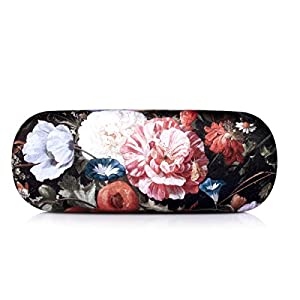 EZESO Fabrics Metal Floral Retro Light Portable Eyeglasses Case (A)