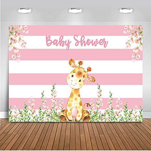 Baby Shower Giraffe (Mehofoto Giraffe Baby Shower Backdrop Pink Flower Giraffe Photography Background 7x5ft Vinyl Giraffe Baby Shower Party Banner)
