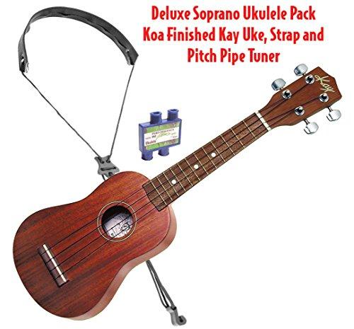 (Kay U10-PACK Deluxe Soprano Ukulele Package-Koa Finished Uke, Strap and Tuner)