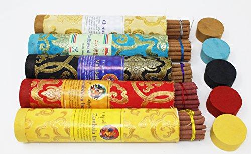 Juccini Tibetan Incense Sticks ~ Spiritual Healing Hand Rolled Assorted Incense Made from Organic Himalayan Herbs (Assorted)
