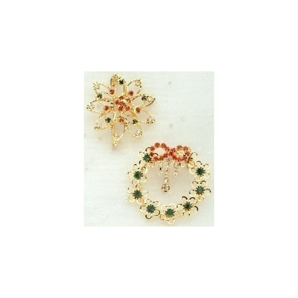 Club Pack of 12 Winters Beauty Gold Wreath & Poinsettia Pins with Gem Accents