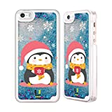 Head Case Designs Snowflake Mug Kawaii Christmas Penguins Sky Blue Liquid Glitter Case Cover for Apple iPhone 5 / 5s