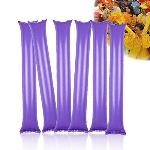 Thunder Sticks, Bam Bam Cheer Sticks Blow Bar Inflatable Boom Sticks Noisemakers Stick Football Noisemakers Party Favors, Purple, 50 Pairs -