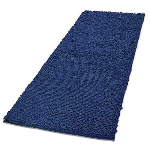 MAYSHINE Chenille Dog Door mat(31x59) Runner for Front Inside Floor Dirty Trapper Doormats, Quick Drying, Washable, Prevent Mud Dirt- Dark Blue