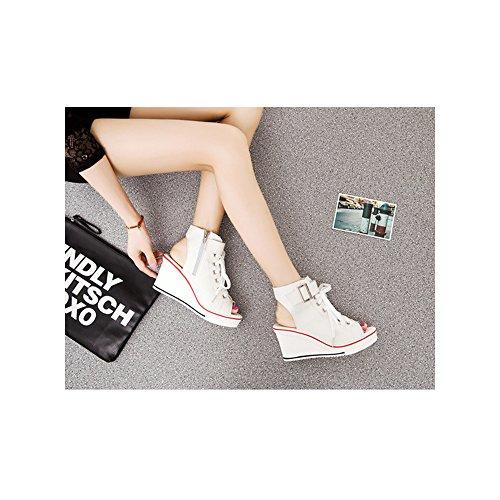 Moda Tacon Mujer Lona De Blanco 4 Pendiente Zapatos Los Casual Ochenta Con Para HfAwxY