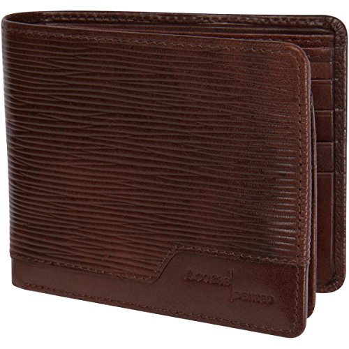 Access Denied Mens Leather RFID Blocking Wallet 12 Card Slots (Brown Wave) (Brown Vertical Leather)