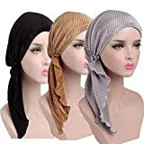Womens Chemo Hat Pre Tied Ruffle Head Scarves Turban Headwear for Cancer (3pack Black+Silver+Gold)