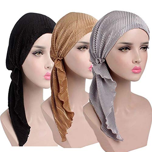 Womens Chemo Hat Pre Tied Ruffle Head Scarves Turban Headwear for Cancer (3pack Black+Silver+Gold) by MaxNova