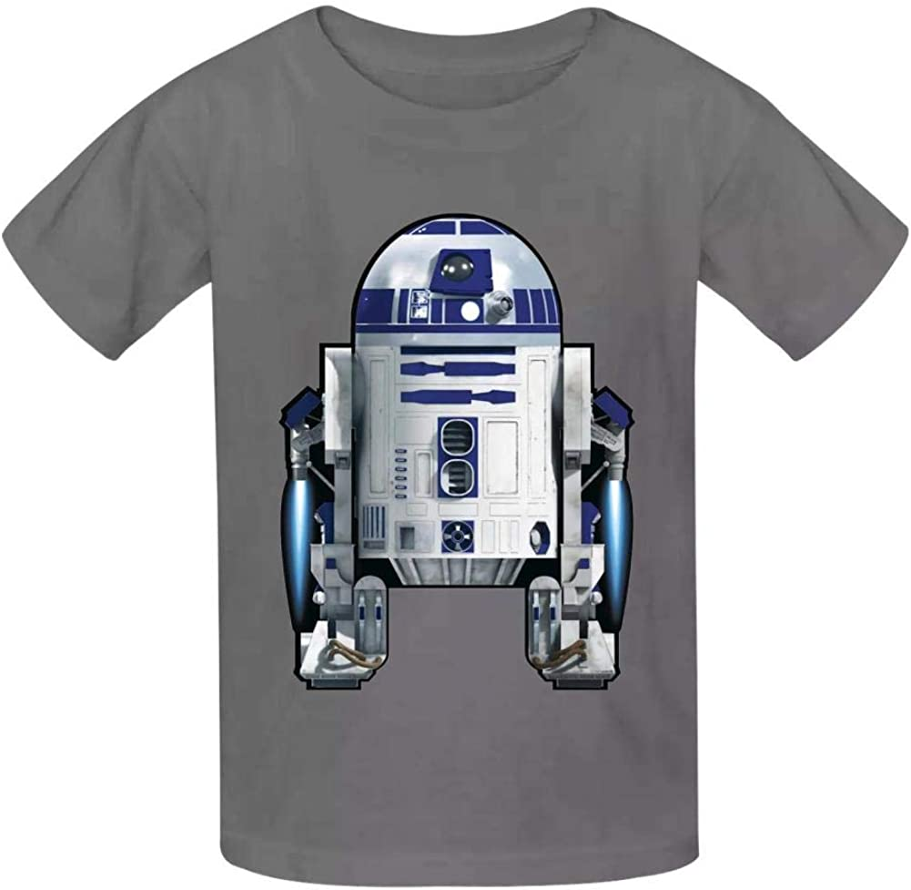 KAWDIS R2D-2 Basic Daily Wear Cotton Graphic T Shirts for Girls and Boys