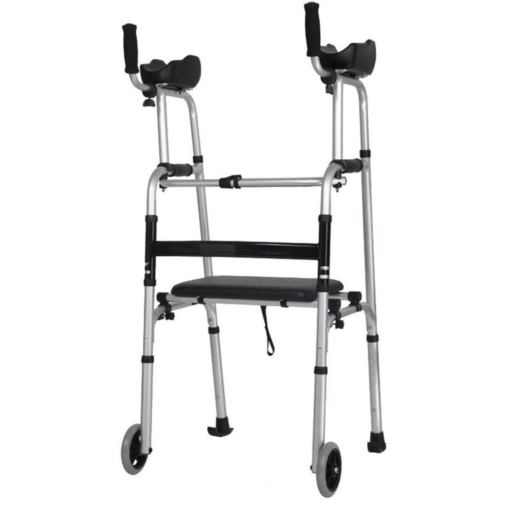 Folding Roller Walker with Seat and Arm, Adjustable Shower Chair - for Disabled, Elderly,Wheeled Commode Chair, Injured and Disabled (2 Wheels) (Color : Light Gray, Size : M) by FHRX
