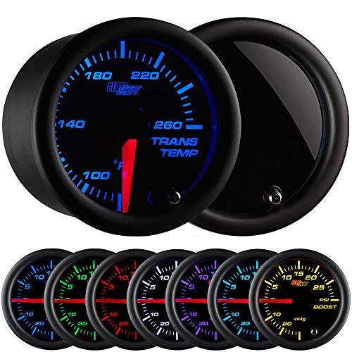 - GlowShift Tinted 7 Color 260 F Transmission Temperature Gauge Kit - Includes Electronic Sensor - Black Dial - Smoked Lens - for Car & Truck - 2-1/16