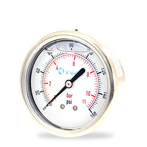 PRESSURE GAUGES PG100B20L4SLF LIQUID FILLED, SS CASE, 1/4