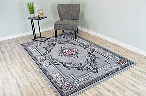 Planet Rugs Glamour Design 206 3D Hand Carved Traditional Rug Oriental Floral 4 x5 3 Grey Red