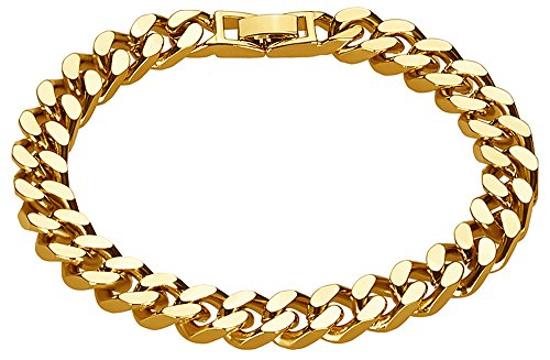The Bling Factory 9.2mm 14k Yellow Gold Plated Beveled Cuban Curb Link Chain Bracelet, 8