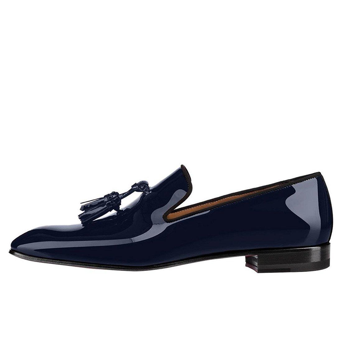 Cuckoo Schwarz Lackleder Kleid Schuhe Schwarz Cuckoo Müßiggänger mit Quasten Blau 91ead6
