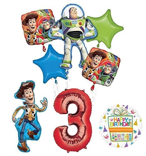 Mayflower Products Toy Story Party Supplies Woody, Buzz Lightyear and Friends 3rd Birthday Balloon Bouquet Decorations ()