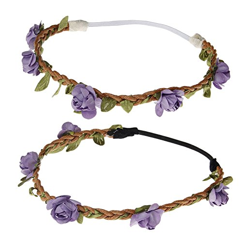 Aurora Bridal Baby Bohemian Flower Crown Floral Garland Headbands For Girls Lilac