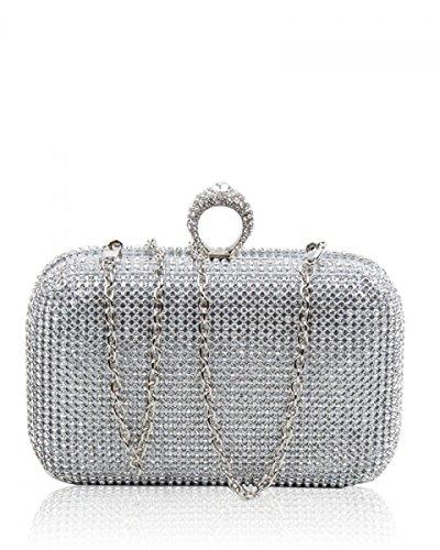 Clutch Prom Bag Diamante Silver Bridal Crystal Evening Dazzling Party Purse Ring nOP6pWOgq