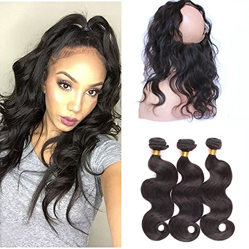 E-forest Hair 360 Band Full Lace Frontal Closure Body Wave With Brazilian Virgin Human Hair 2 Bundles 22.5
