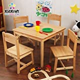 Natural Finish Table and 4 Chairs Set, Sized Just Right for Kids, Ideal Space for Playing Board Games, Working on Homework and Much More, Made of Wood, Bundle with Expert Guide for Better Life