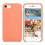 SURPHY Silicone Case Compatible for iPhone 8 iPhone 7 Case, Soft Liquid Silicone Slim Rubber Protective Phone Case Cover (with Microfiber Lining) for iPhone 7 iPhone 8 4.7', Peach