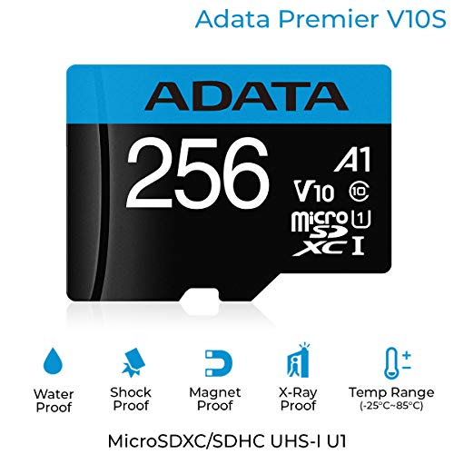 ADATA Premier 256GB MicroSDHC/SDXC UHS-I Class 10 V10 A1 Memory Card with Adapter Read up to 100 MB/s (AUSDX256GUICL10A1-RA1)