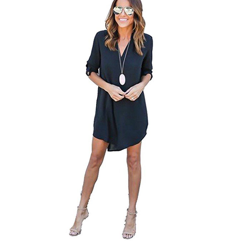 Minikleid Elegant V-Ausschnitt Hemdkleid A-Linie Kleider Casual ...