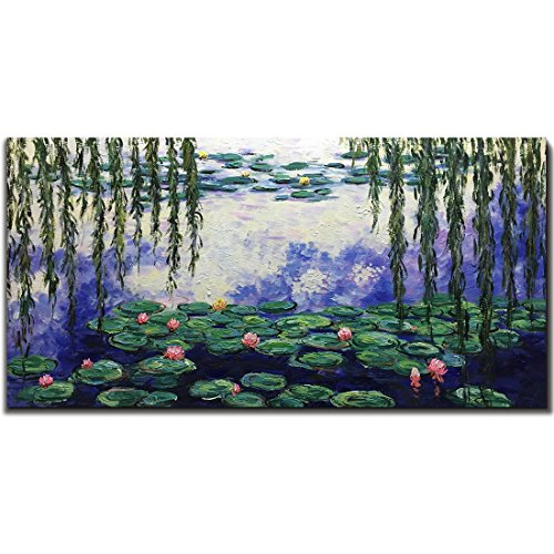 - Amei Art Paintings, 24X48 Inch Water Lilies Paintings by Claude Monet famous Oil Painting Flowers Reproduction Art 3D Hand-Painted On Canvas Abstract Artwork Art Wood Inside Framed Hanging Wall Decor