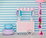 Niños dulce Zone telón de fondo para fotografía piruletas globo Candy Bar blanco azul rayas pared Fondos de estudio fotográfico 3x 2.4m
