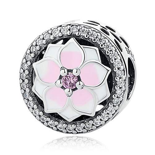 (BAMOER 925 Sterling Silver Magnolia Bloom Pale Cerise Enamel Beads for Women Bracelet (Magnolia Bloom Charm 1))