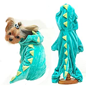Halloween Costume for Pet Dog Cat Dinosaur Hoodies Animals Fleece Jacket Coat Warm Outfits Clothes for Small Medium Dogs…