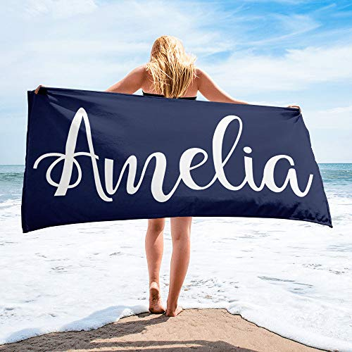 Laid Out Beach Towel - Etype Personalized Name Microfiber Pool Beach Towel Quick Dry Bath Towel Sand Proof 32x52 inches