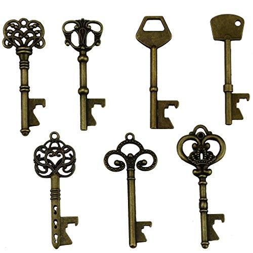 (Key Bottle Openers - Assorted Vintage Skeleton Keys, Wedding Party Favors (Pack of 70, Bronze))