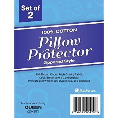 100% Cotton - Pillow Protector - Zippered Style - Set of 2 - 200 Thread Count ( Standard (20 x26 ))