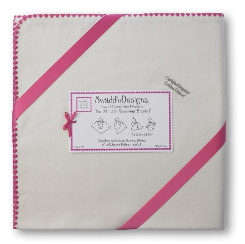 SwaddleDesigns Organic Ultimate Receiving Blanket, Natural with Color Trim, Fuchsia by SwaddleDesigns